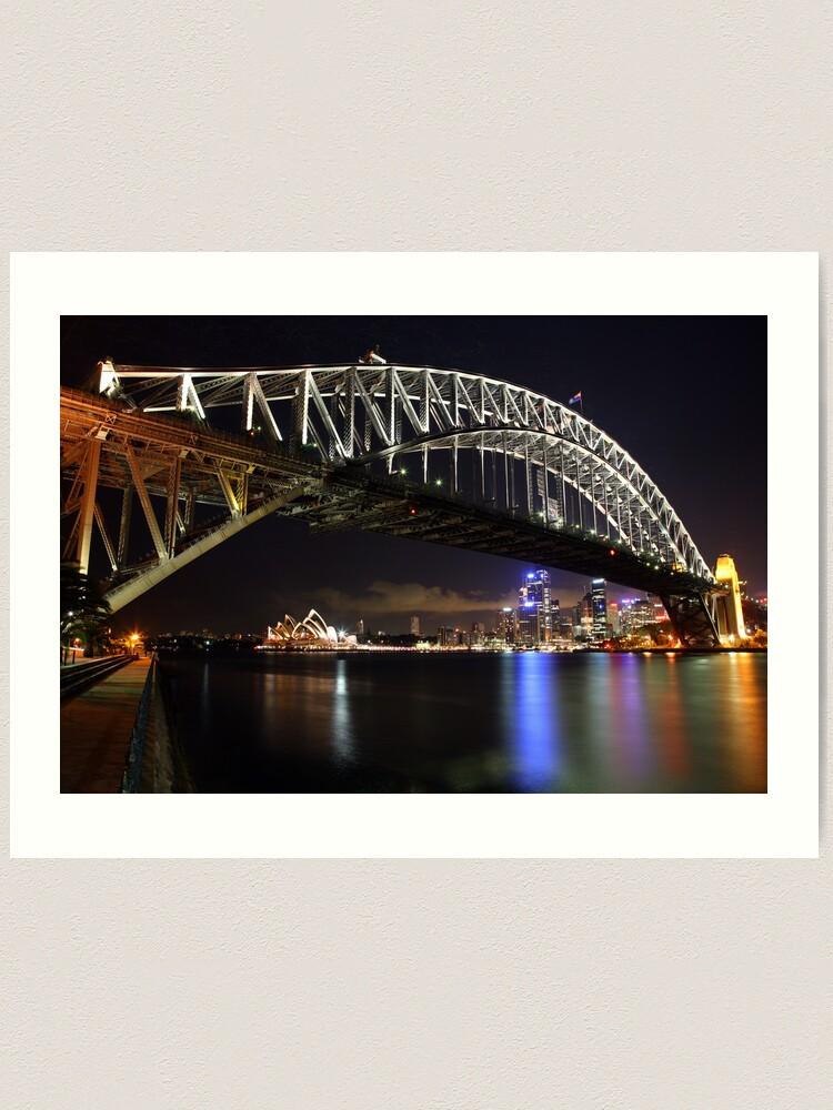 Alternate view of Sydney Harbour Bridge at Night, Australia Art Print