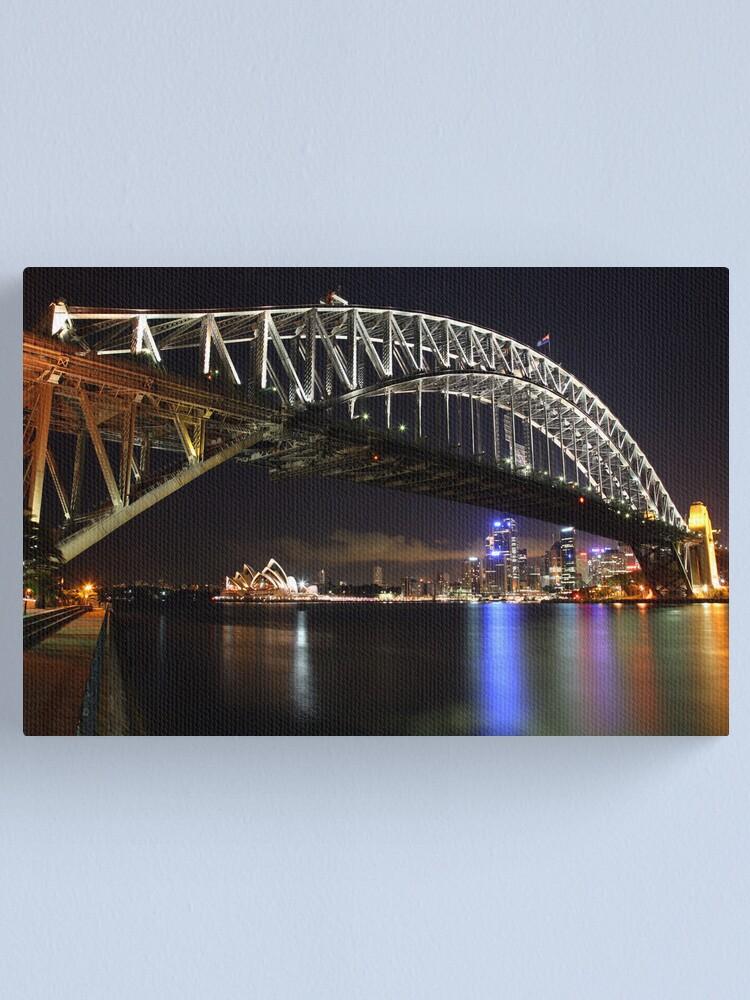 Alternate view of Sydney Harbour Bridge at Night, Australia Canvas Print