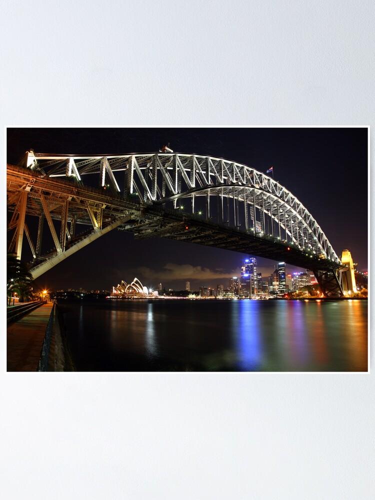 Alternate view of Sydney Harbour Bridge at Night, Australia Poster