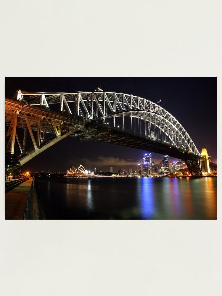 Alternate view of Sydney Harbour Bridge at Night, Australia Photographic Print