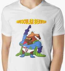 Muscular Beaver Men's V-Neck T-Shirt