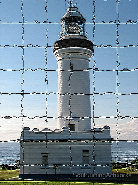 Norah Head Lighthouse in Coloured Mosaics by SoulSurfingArtworks
