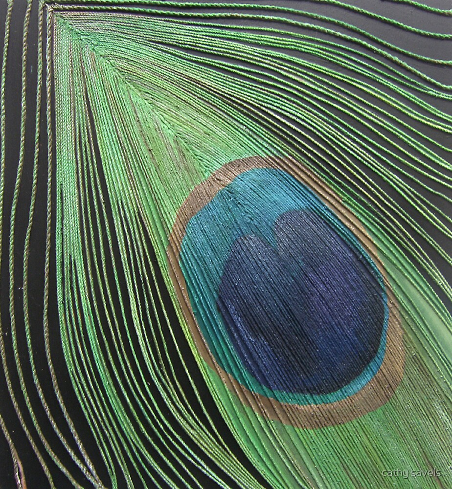 peacock feather by cathy savels