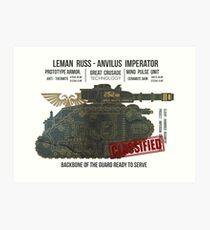 BLUEPRINT TEE - LEMAN RUSS 40K KNOCHEN GRUNGE Kunstdruck