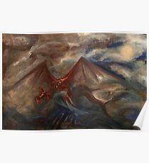 Dragon in Stormy Skies Poster