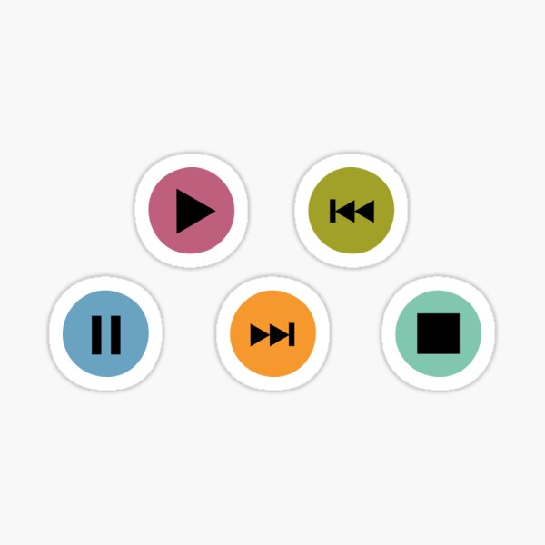 Little Music Player Icons Polka Dots (Multicolor on Black) Sticker