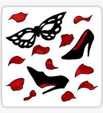 masquerade pattern - shoes, mask with rose petals Sticker