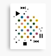 Music Player Icons (Multicolor on White) Canvas Print