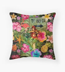 Tropical Vintage Exotic Jungle Beach Party Throw Pillow