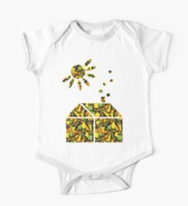 abstract house with sun One Piece - Short Sleeve