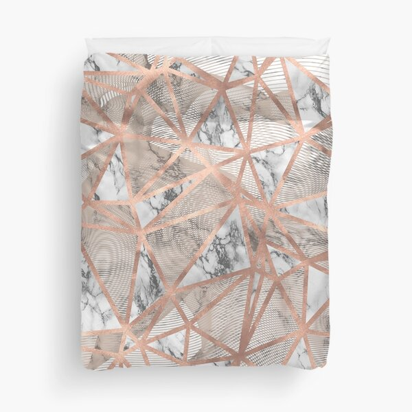 Fractured Marble Pieces Geometric Rose Gold Design Duvet Cover
