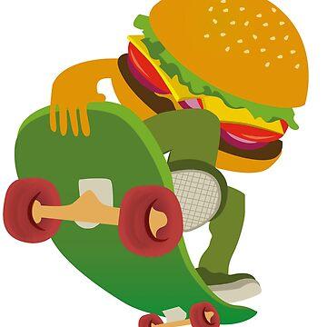 Hamburger guy skateboard by caitdesign