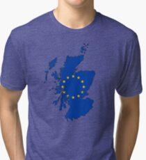 Scotland Map with EU Flag Tri-blend T-Shirt