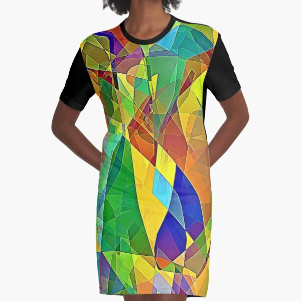 Stained Glass Calamity Graphic T-Shirt Dress