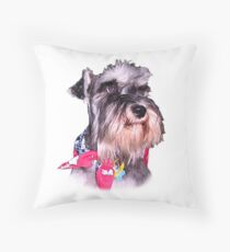 Cute and Cuddly Schnauzer  Throw Pillow