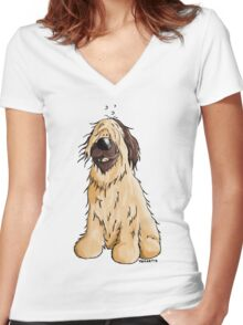 Happy Briard Cartoon  Women's Fitted V-Neck T-Shirt