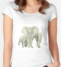 """Elephants"" Women's Fitted Scoop T-Shirt"
