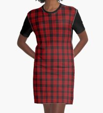 Red and Black | Campbell Clan Scottish Tartan #home #lifestyle Graphic T-Shirt Dress