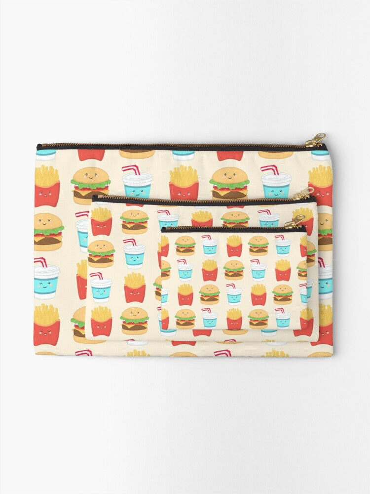 Alternate view of burger buddies repeating pattern Zipper Pouch
