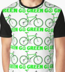 Go Green Bicycle Recycle Design Graphic T-Shirt