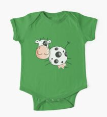 Happy Jumping Cow One Piece - Short Sleeve