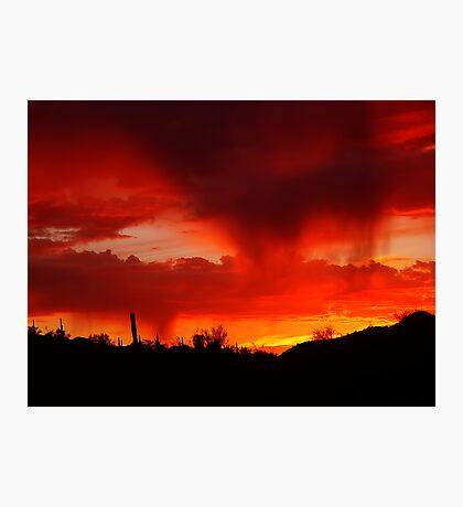Desert Rain at Sunset Photographic Print