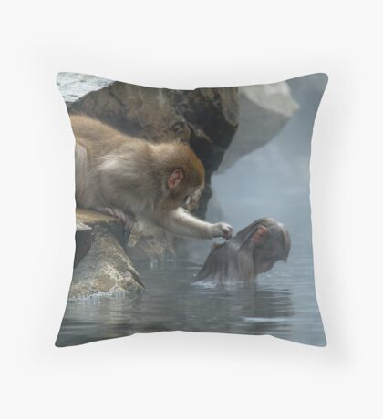 Monkey Day Spa Throw Pillow