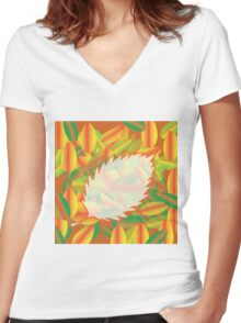 autumn background Women's Fitted V-Neck T-Shirt