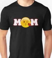 Mothers Day Gift For Mom Shirt Tote Card Mum Gift Ideas: Mom Heart Kiss Emoji White T-Shirt