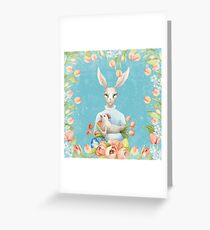 Beautiful Floral Flowers Female Animal Easter Bunny  Greeting Card