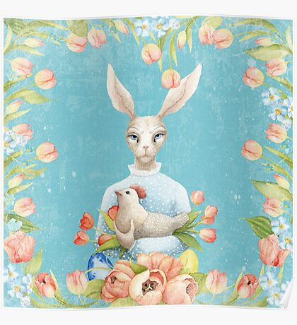 Beautiful Floral Flowers Female Animal Easter Bunny  Poster