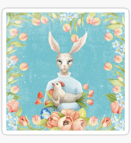 Beautiful Floral Flowers Female Animal Easter Bunny  Sticker