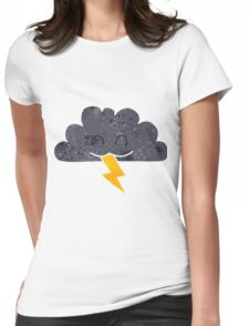 retro cartoon storm cloud Womens Fitted T-Shirt