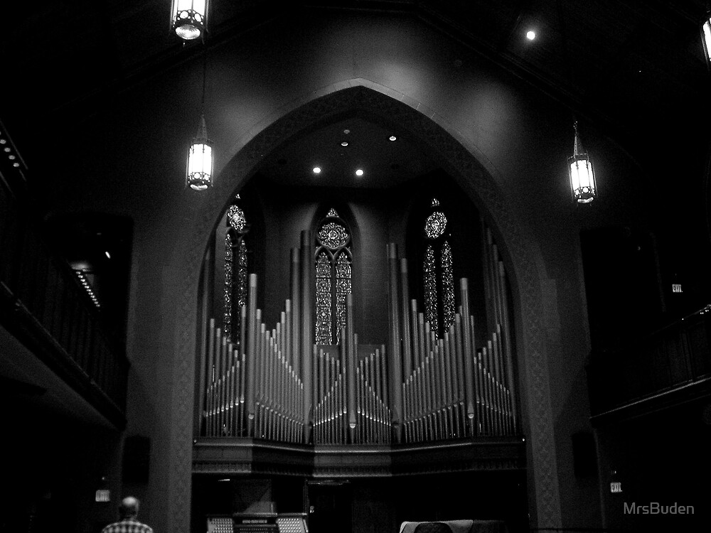 Chapel Organ in Black and White by MrsBuden