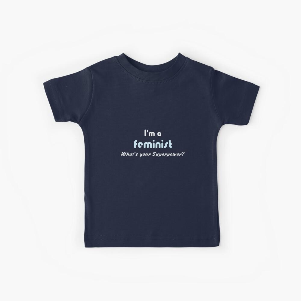 Feministischer Superpower Slogan weiß blau Kinder T-Shirt