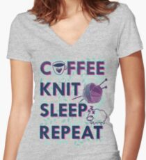 Coffee Knit Sleep Repeat - knitting knitter yarn Women's Fitted V-Neck T-Shirt