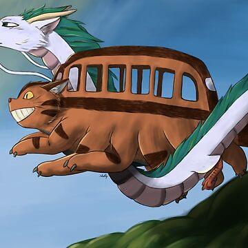 Catbus and Haku / Studio Ghibli by ShellysWorld