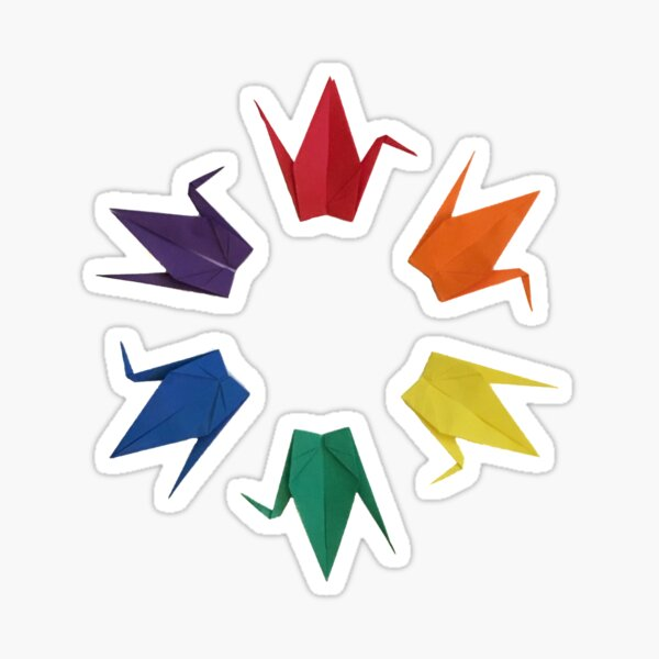 Rainbow Cranes Sticker
