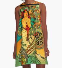 "Alphonse Mucha Art Nouveau ""Monte Carlo"" A-Line Dress"