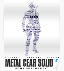 Metal Gear Solid 2 - Sons of Liberty - Raiden Typography  Poster