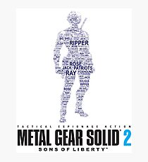 Metal Gear Solid 2 - Sons of Liberty - Raiden Typography  Photographic Print