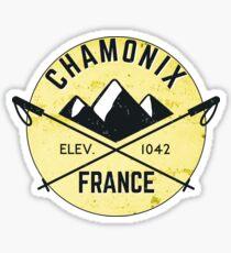 Pegatina ESQUÍ CHAMONIX MONT BLANC FRANCIA Esquí Montaña Montañas Esquís Silueta Snowboard Snowboarding 4