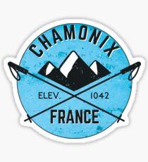 SKIING CHAMONIX MONT BLANC FRANCE Ski Mountain Mountains Skis Silhouette Snowboard Snowboarding 5 Sticker