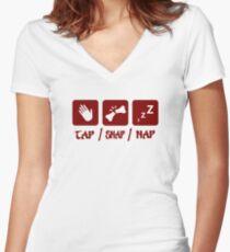 Tap / Snap / Nap (BJJ / Judo / Wrestling) Women's Fitted V-Neck T-Shirt