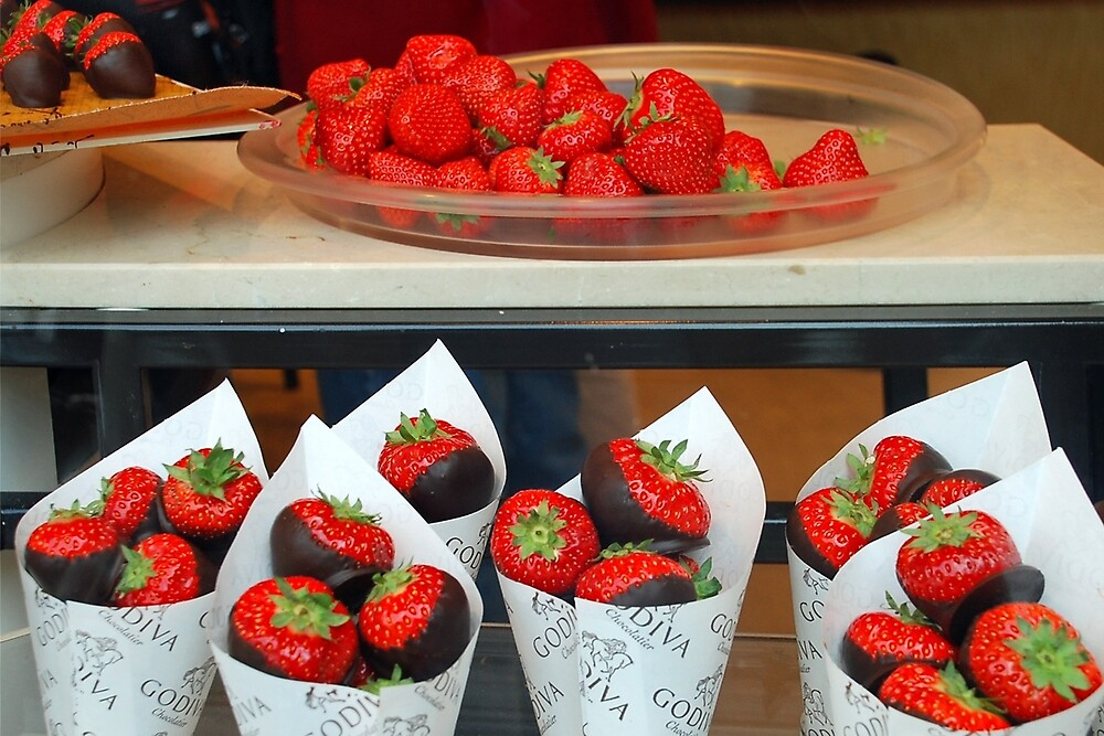 Strawberries with a Belgian chocolate coating by Arie Koene