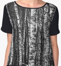Black and White Abstract Birch Forest Chiffon Top