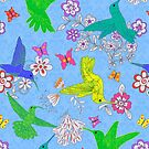 Beautiful Busy Hummingbirds on Blue by Faye Maguire