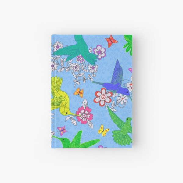 Beautiful Busy Hummingbirds on Blue Hardcover Journal