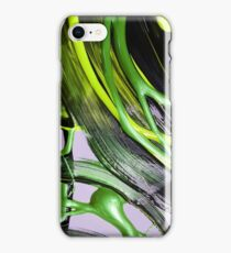 Painted background texture with green and black stripes iPhone Case/Skin