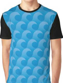 Blue Wave Surface Pattern - Ocean Waves Graphic T-Shirt